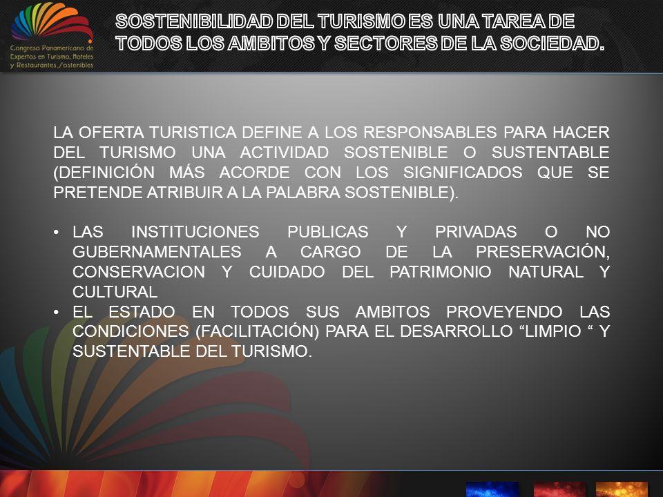 SOSTENIBILIDAD DEL TURISMO ES UNA TAREA DE TODOS LOS AMBITOS Y SECTORES DE LA SOCIEDAD.