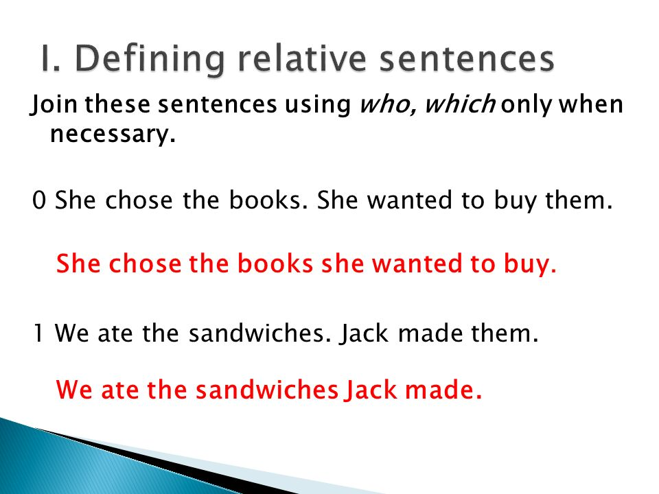 I. Defining relative sentences