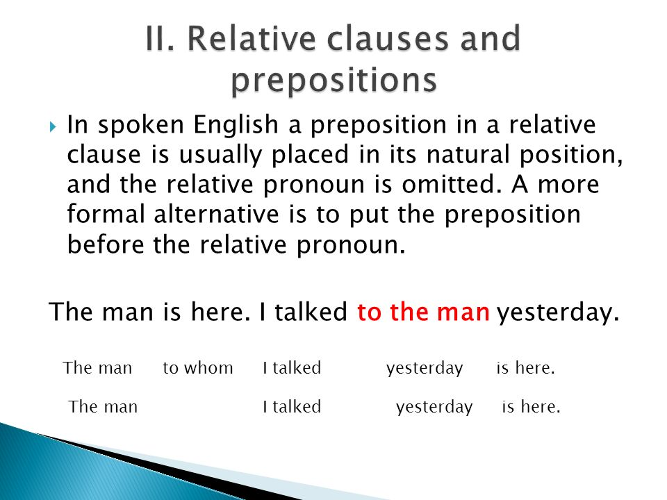 II. Relative clauses and prepositions