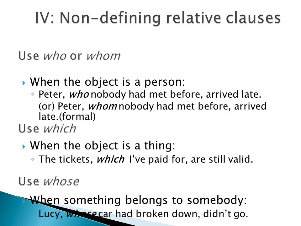 IV: Non-defining relative clauses