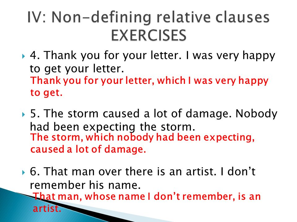 IV: Non-defining relative clauses EXERCISES