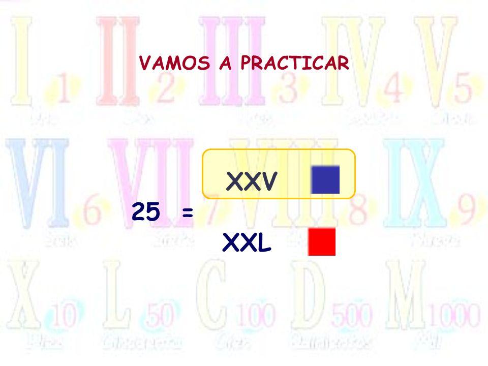 VAMOS A PRACTICAR XXV 25 = XXL