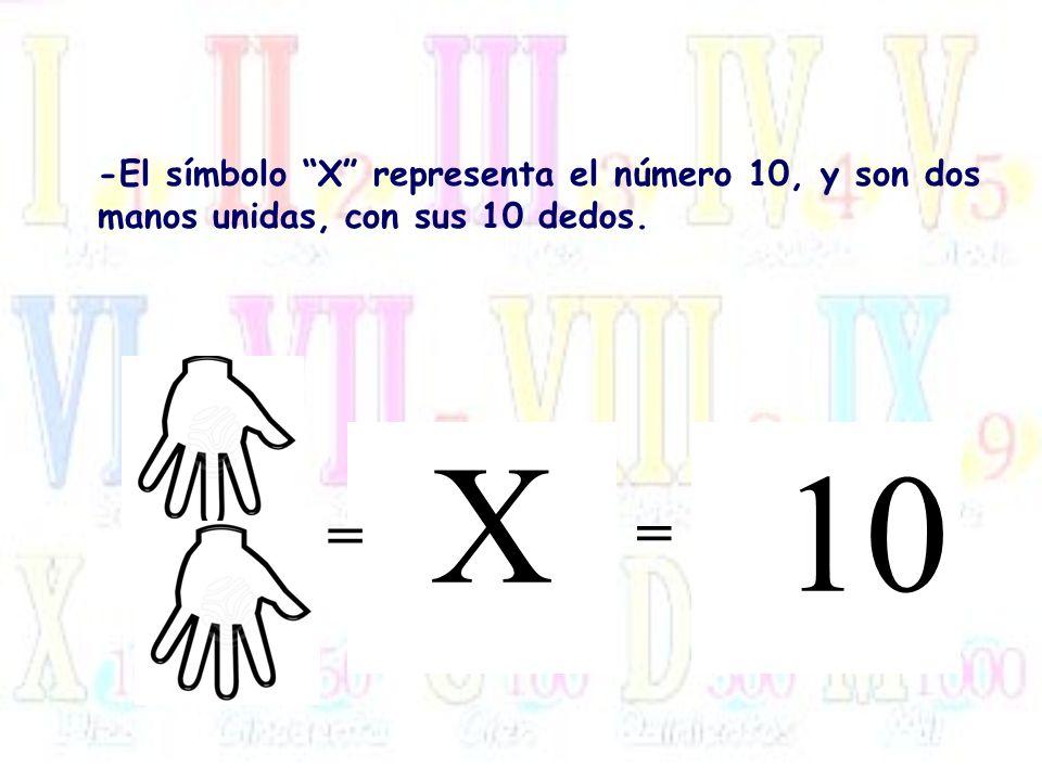 -El símbolo X representa el número 10, y son dos manos unidas, con sus 10 dedos.