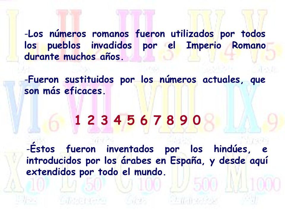 Los números romanos fueron utilizados por todos los pueblos invadidos por el Imperio Romano durante muchos años.