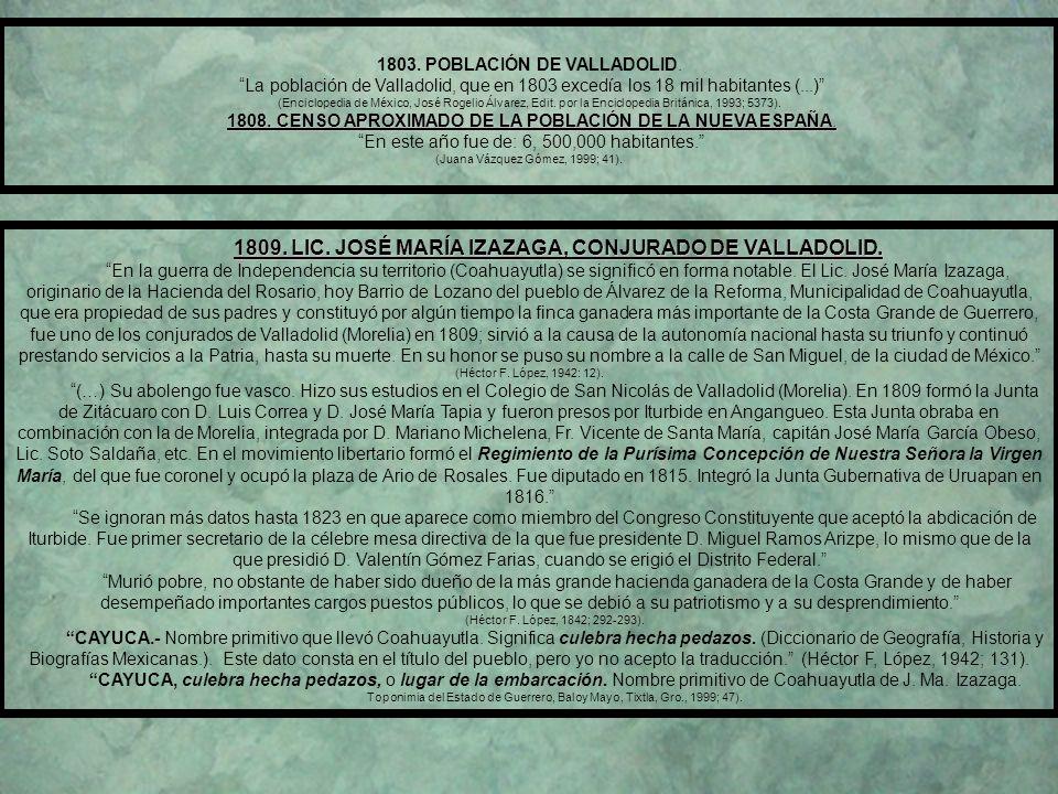 1809. LIC. JOSÉ MARÍA IZAZAGA, CONJURADO DE VALLADOLID.