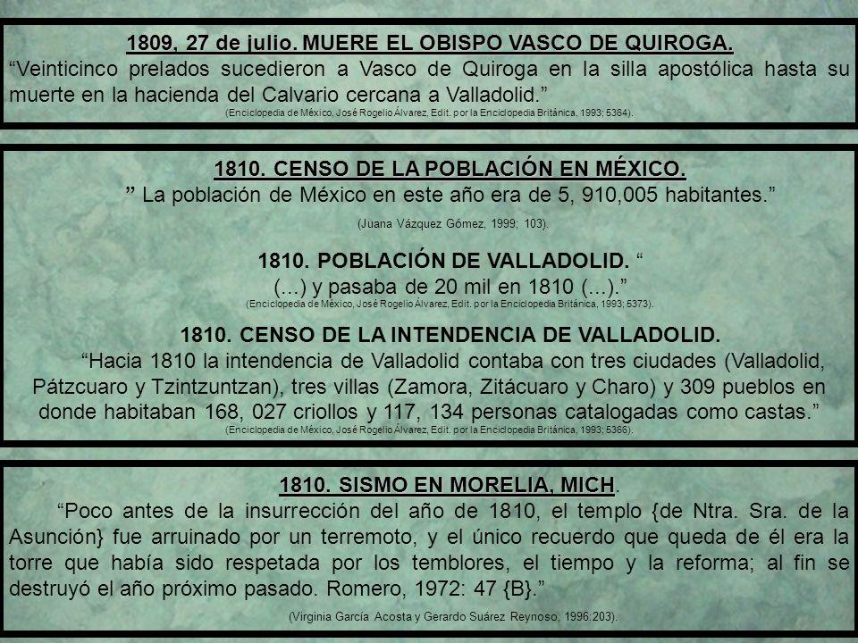 1809, 27 de julio. MUERE EL OBISPO VASCO DE QUIROGA.