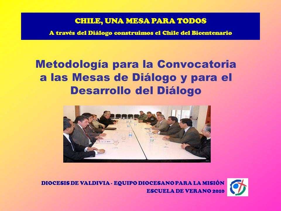 CHILE, UNA MESA PARA TODOS A través del Diálogo construimos el Chile del Bicentenario