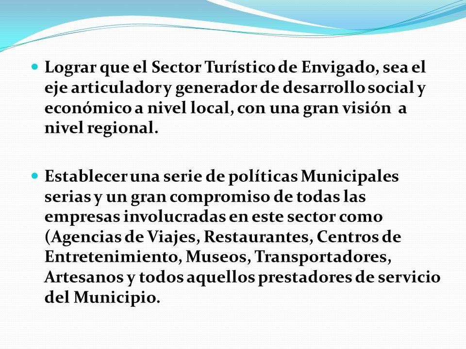 Lograr que el Sector Turístico de Envigado, sea el eje articulador y generador de desarrollo social y económico a nivel local, con una gran visión a nivel regional.