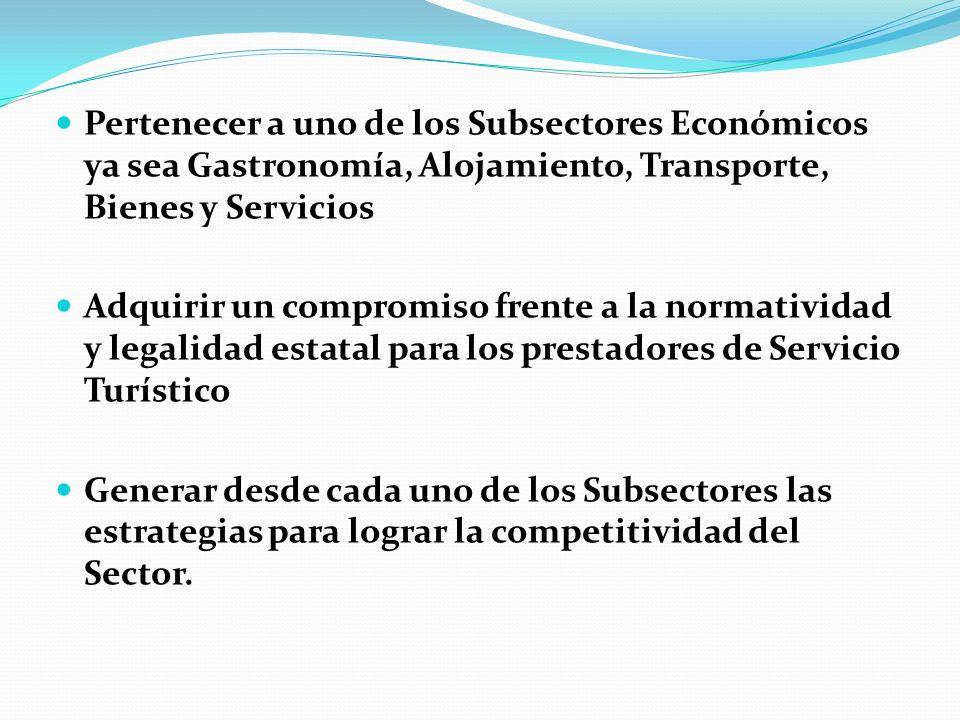 Pertenecer a uno de los Subsectores Económicos ya sea Gastronomía, Alojamiento, Transporte, Bienes y Servicios