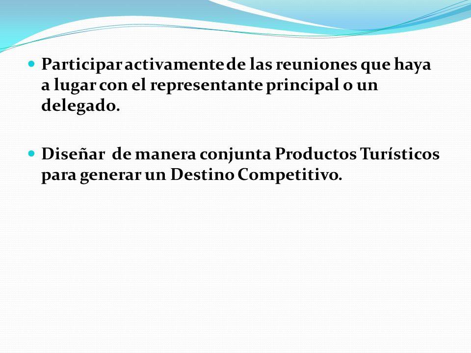Participar activamente de las reuniones que haya a lugar con el representante principal o un delegado.