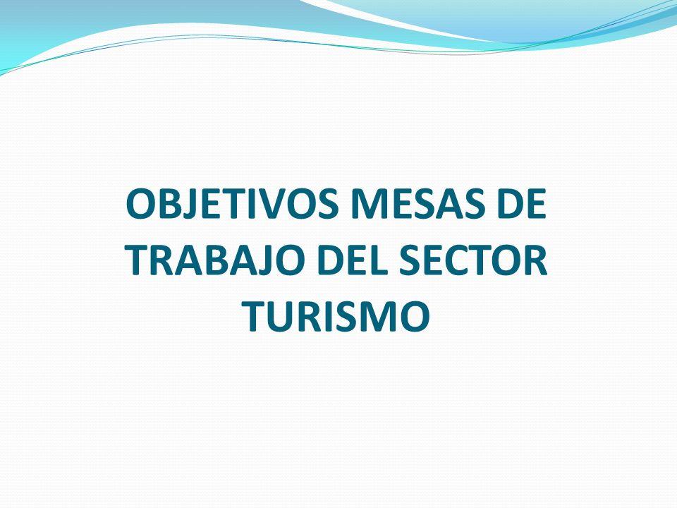 OBJETIVOS MESAS DE TRABAJO DEL SECTOR TURISMO