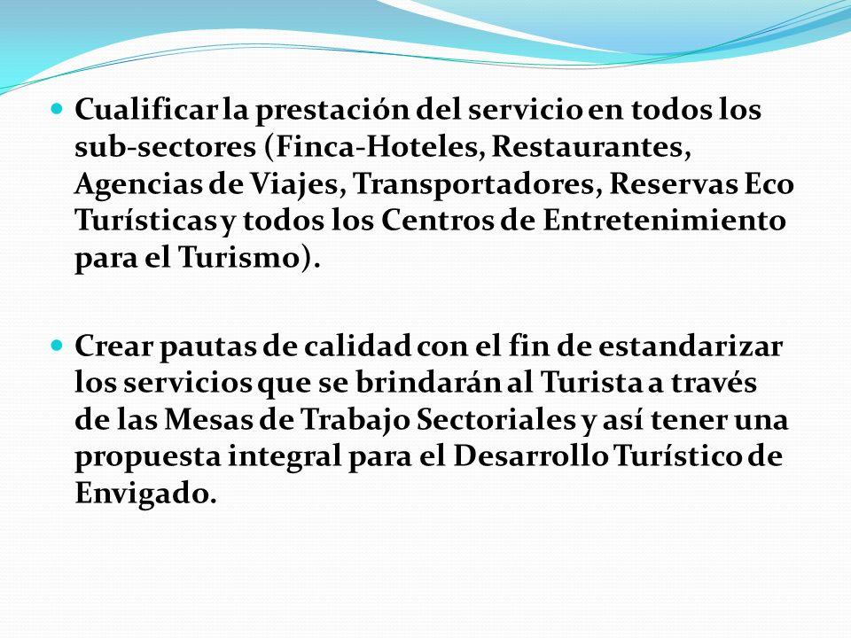 Cualificar la prestación del servicio en todos los sub-sectores (Finca-Hoteles, Restaurantes, Agencias de Viajes, Transportadores, Reservas Eco Turísticas y todos los Centros de Entretenimiento para el Turismo).