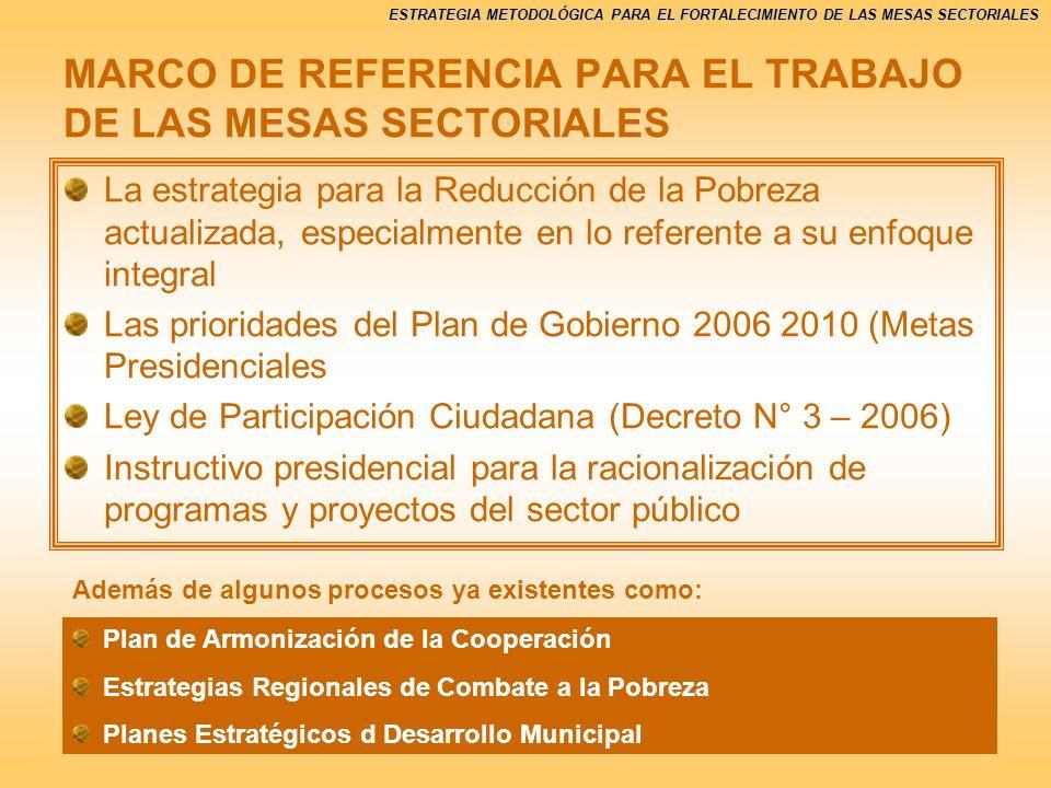 MARCO DE REFERENCIA PARA EL TRABAJO DE LAS MESAS SECTORIALES