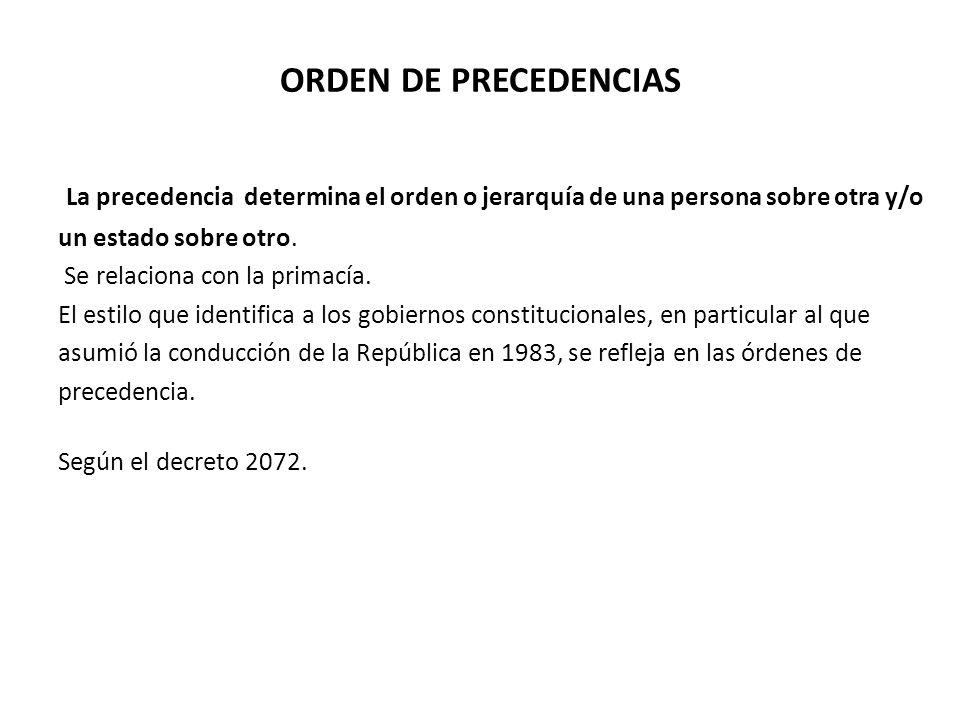 ORDEN DE PRECEDENCIAS La precedencia determina el orden o jerarquía de una persona sobre otra y/o.