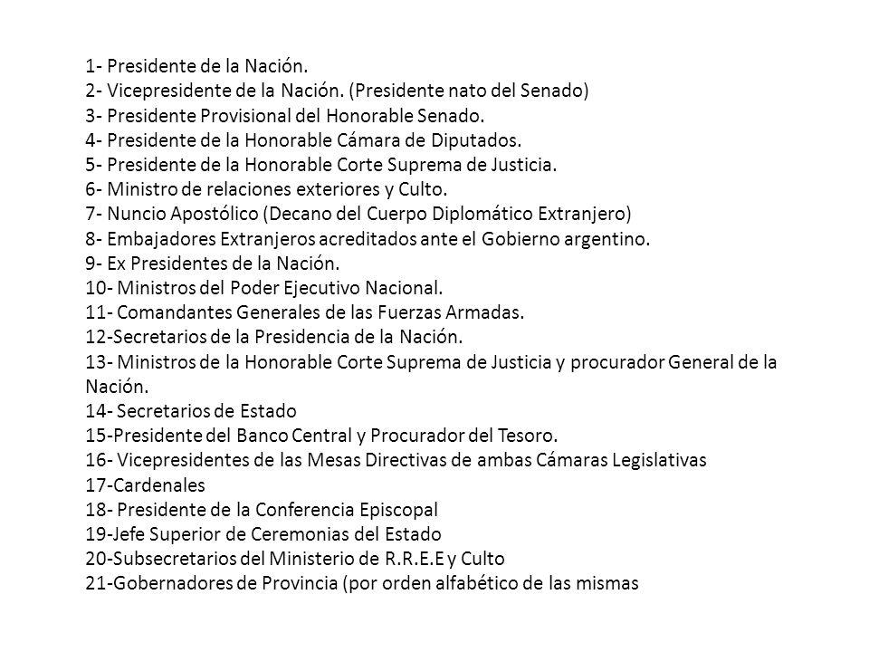 1- Presidente de la Nación. 2- Vicepresidente de la Nación