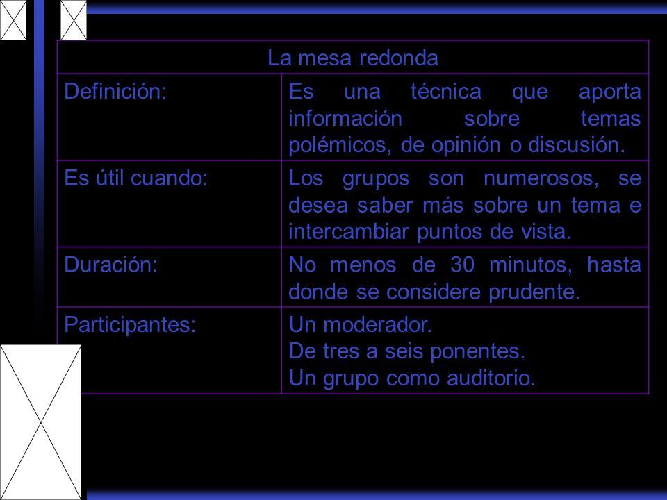 La mesa redonda Definición: Es una técnica que aporta información sobre temas polémicos, de opinión o discusión.