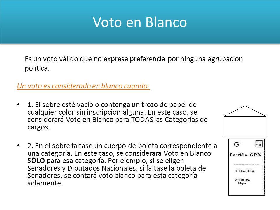 Voto en Blanco Es un voto válido que no expresa preferencia por ninguna agrupación política. Un voto es considerado en blanco cuando: