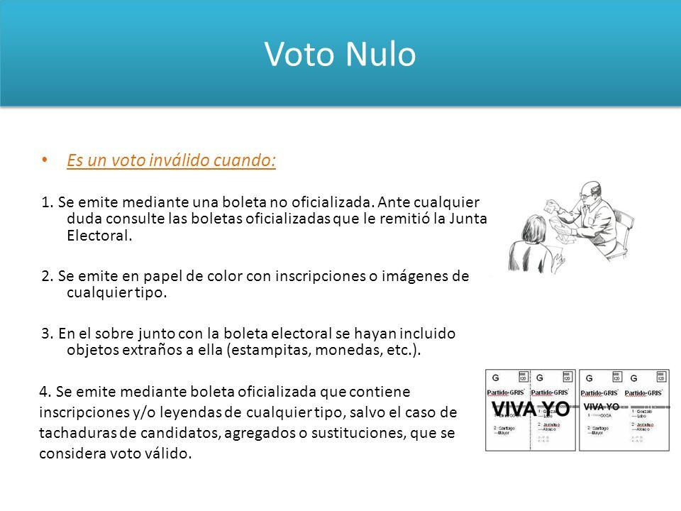 Voto Nulo Es un voto inválido cuando: