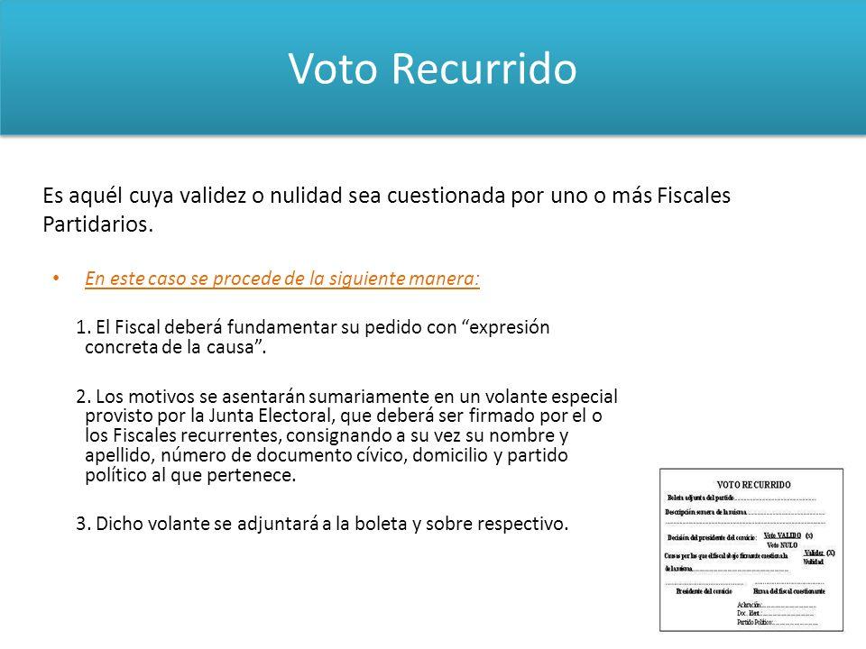 Voto RecurridoEs aquél cuya validez o nulidad sea cuestionada por uno o más Fiscales Partidarios. En este caso se procede de la siguiente manera: