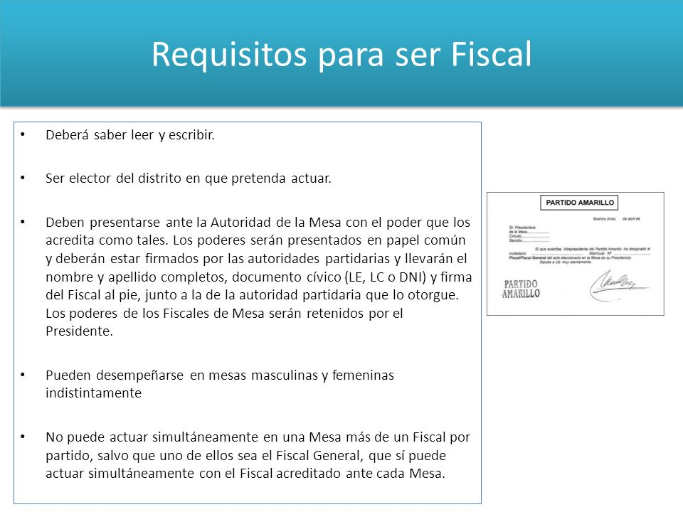 Requisitos para ser Fiscal