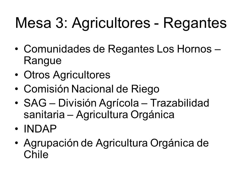 Mesa 3: Agricultores - Regantes