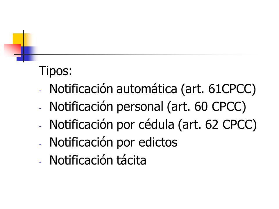 Tipos: Notificación automática (art. 61CPCC) Notificación personal (art. 60 CPCC) Notificación por cédula (art. 62 CPCC)