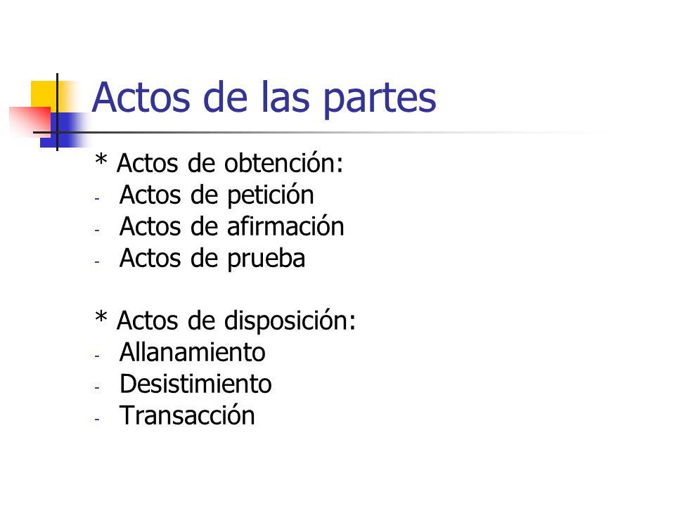 Actos de las partes * Actos de obtención: Actos de petición