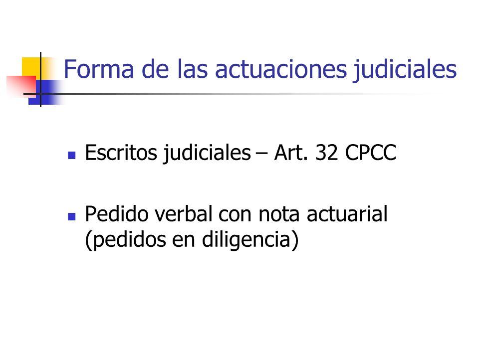 Forma de las actuaciones judiciales