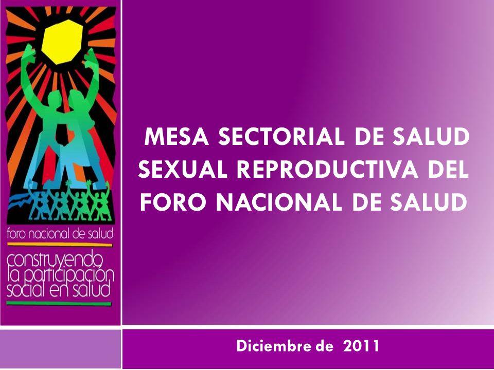 Mesa sectorial de Salud Sexual Reproductiva del foro nacional de salud