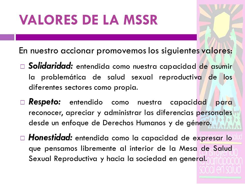 VALORES DE LA MSSR En nuestro accionar promovemos los siguientes valores: