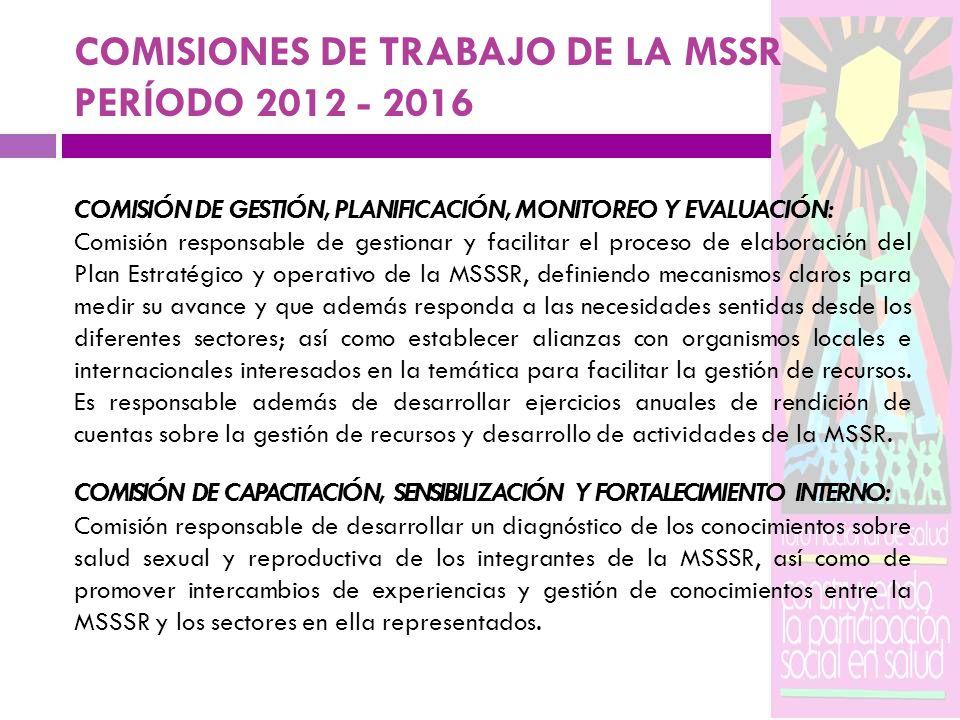 COMISIONES DE TRABAJO DE LA MSSR PERÍODO 2012 - 2016
