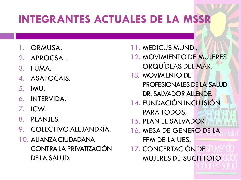 INTEGRANTES ACTUALES DE LA MSSR