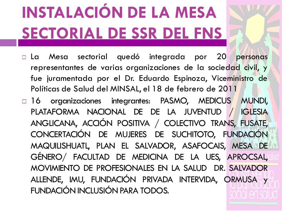 INSTALACIÓN DE LA MESA SECTORIAL DE SSR DEL FNS