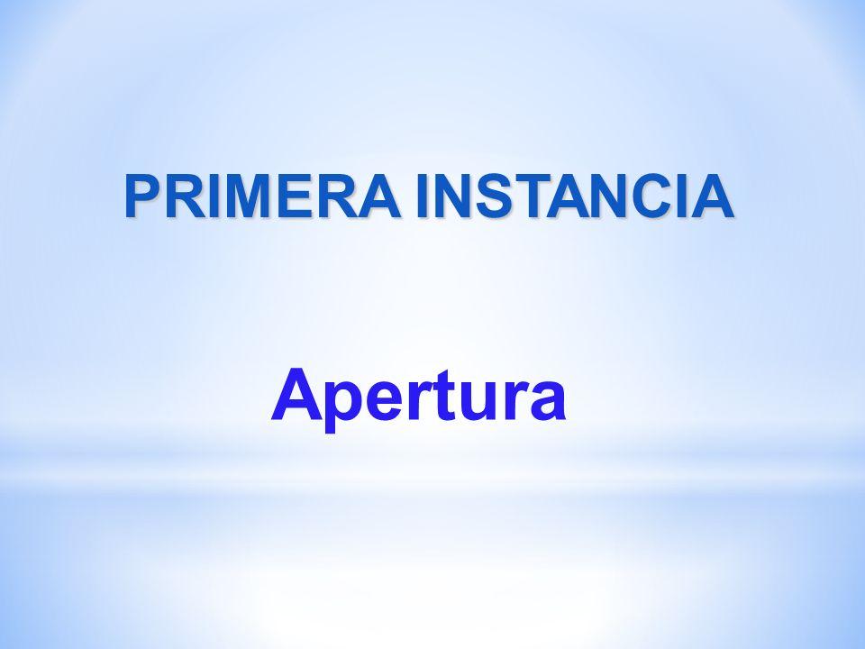 PRIMERA INSTANCIA Apertura