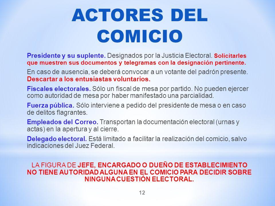 ACTORES DEL COMICIO