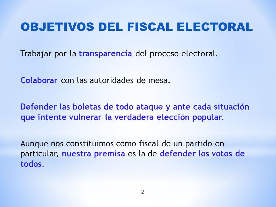 OBJETIVOS DEL FISCAL ELECTORAL