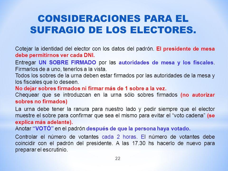 CONSIDERACIONES PARA EL SUFRAGIO DE LOS ELECTORES.