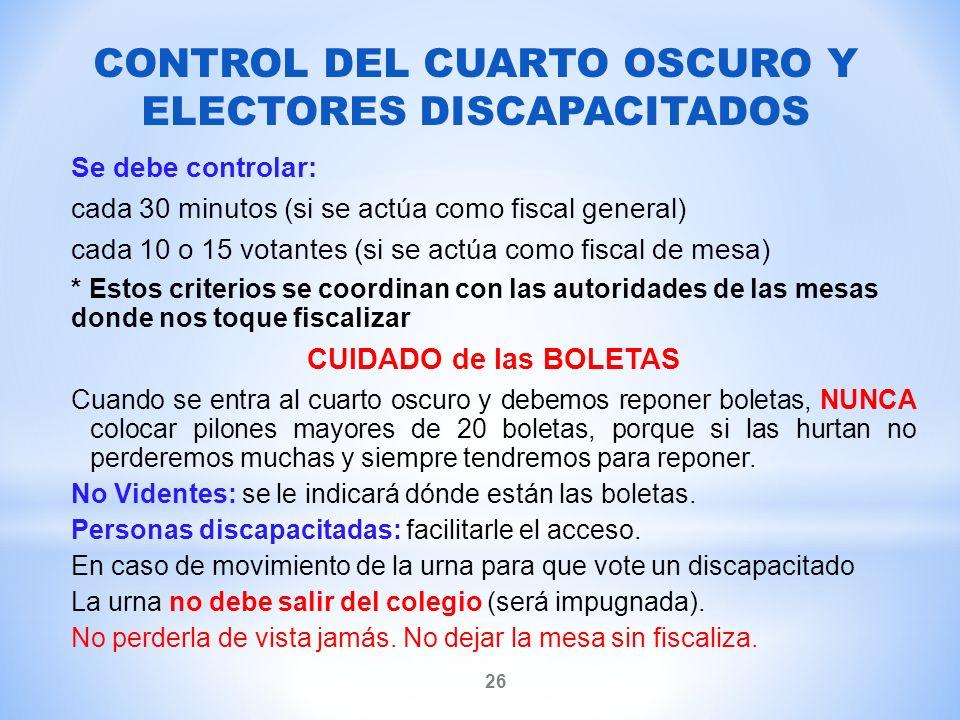 CONTROL DEL CUARTO OSCURO Y ELECTORES DISCAPACITADOS