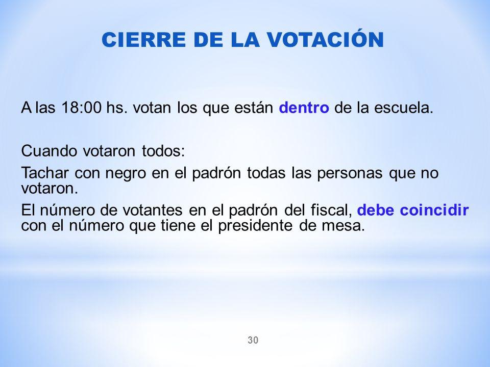 CIERRE DE LA VOTACIÓN