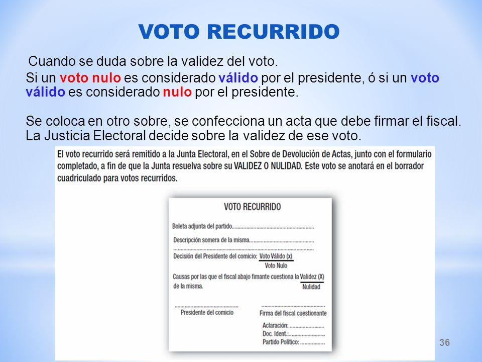 VOTO RECURRIDO Cuando se duda sobre la validez del voto.