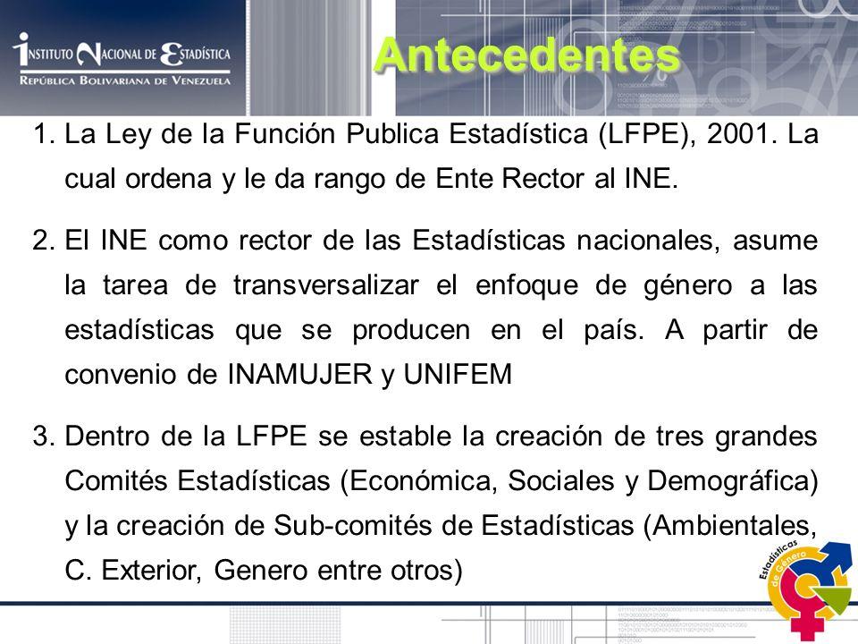 Antecedentes La Ley de la Función Publica Estadística (LFPE), 2001. La cual ordena y le da rango de Ente Rector al INE.