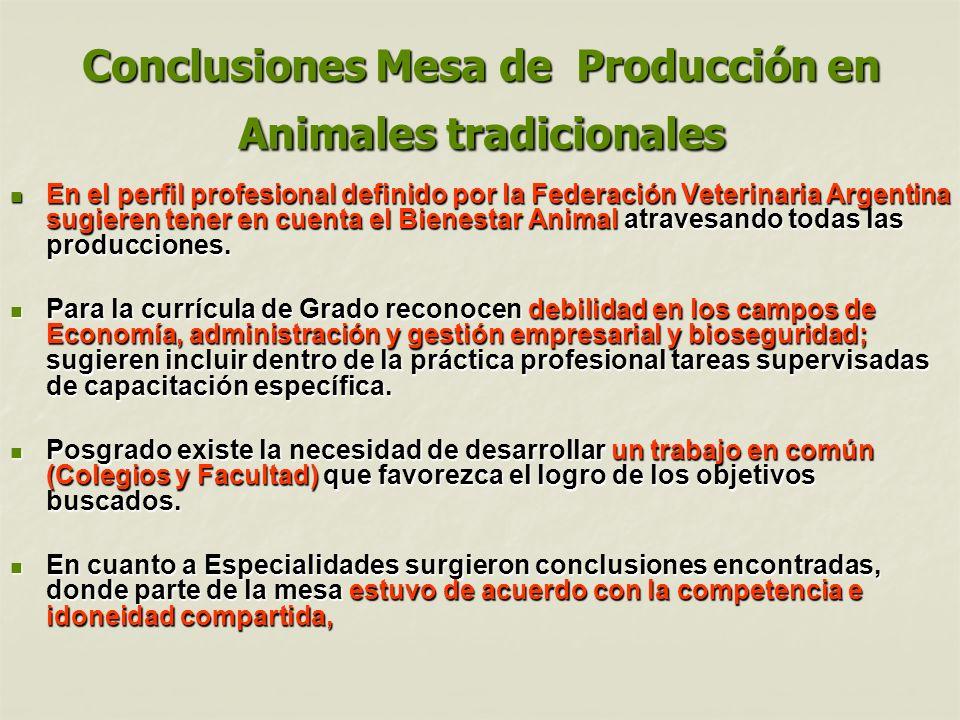 Conclusiones Mesa de Producción en Animales tradicionales