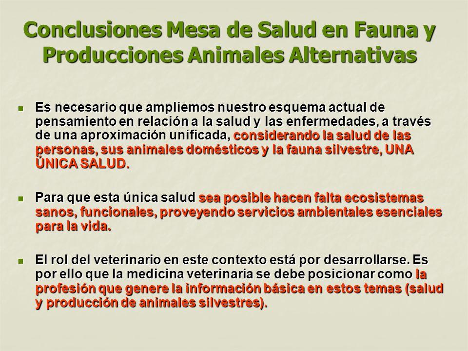 Conclusiones Mesa de Salud en Fauna y Producciones Animales Alternativas