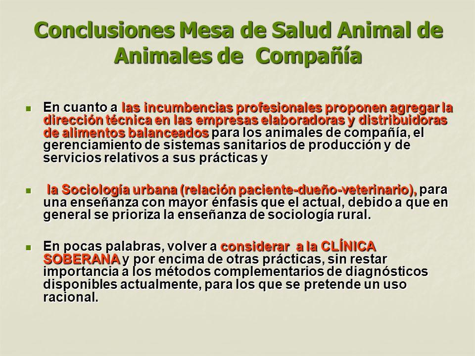 Conclusiones Mesa de Salud Animal de Animales de Compañía