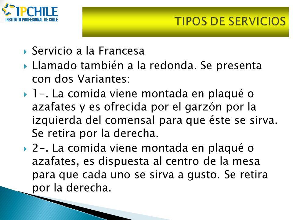 TIPOS DE SERVICIOS Servicio a la Francesa