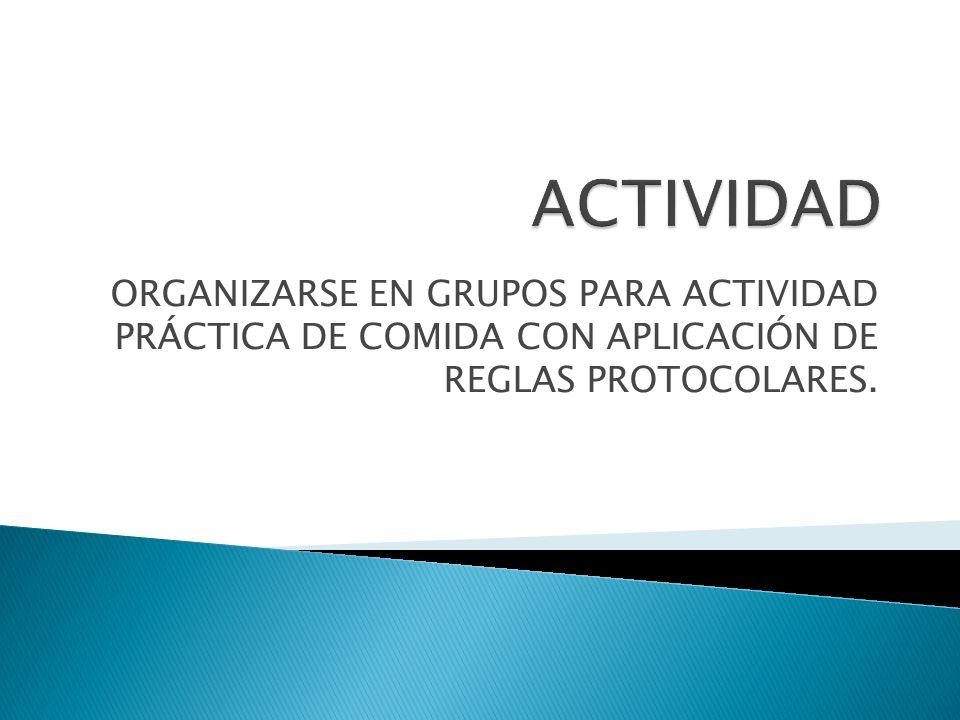 ACTIVIDAD ORGANIZARSE EN GRUPOS PARA ACTIVIDAD PRÁCTICA DE COMIDA CON APLICACIÓN DE REGLAS PROTOCOLARES.