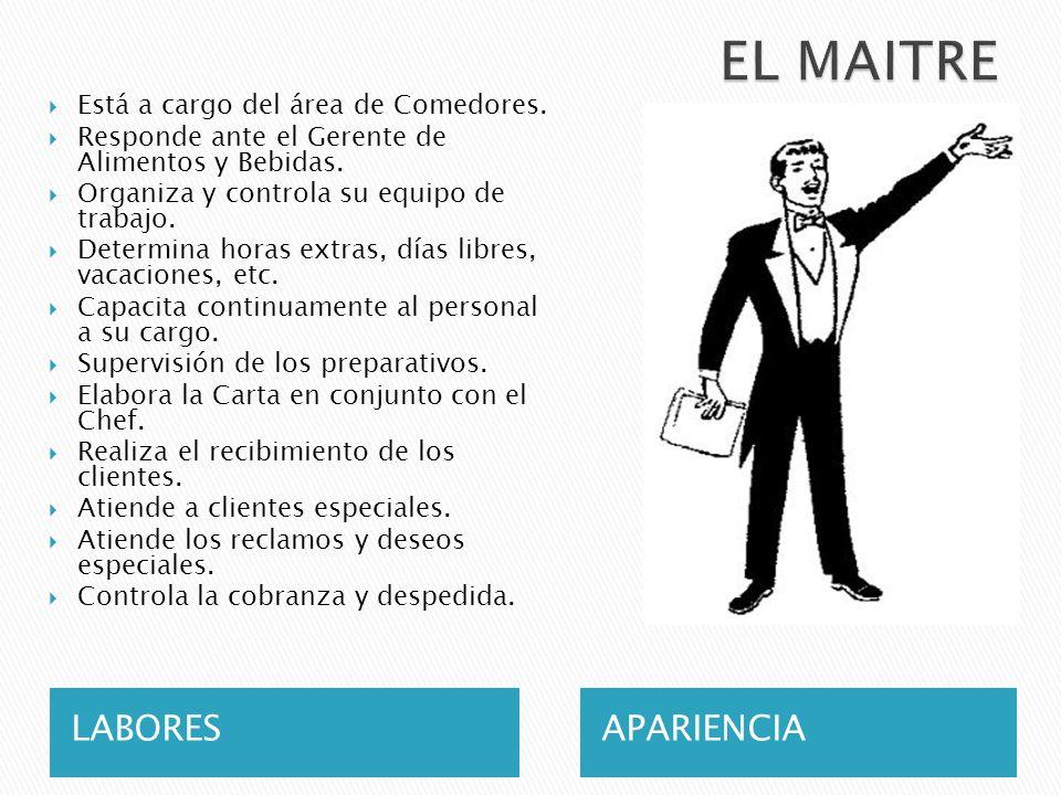 EL MAITRE LABORES APARIENCIA Está a cargo del área de Comedores.