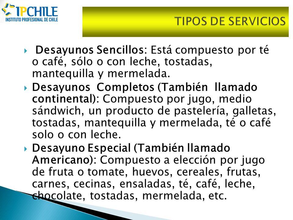 TIPOS DE SERVICIOS Desayunos Sencillos: Está compuesto por té o café, sólo o con leche, tostadas, mantequilla y mermelada.