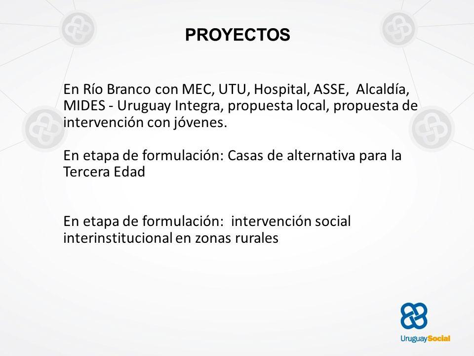 PROYECTOS En Río Branco con MEC, UTU, Hospital, ASSE, Alcaldía, MIDES - Uruguay Integra, propuesta local, propuesta de intervención con jóvenes.