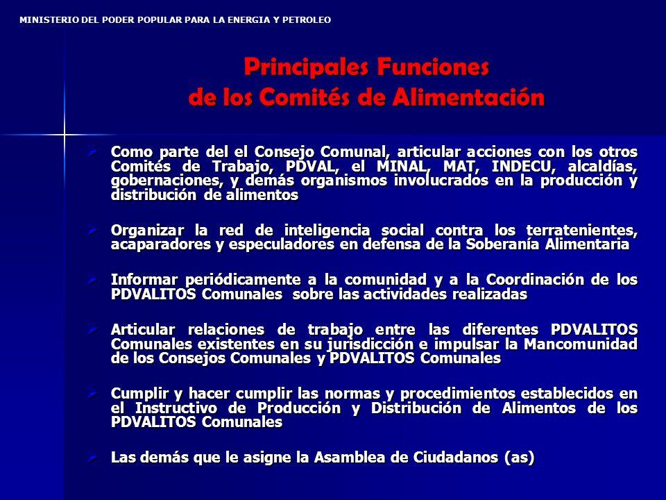 Principales Funciones de los Comités de Alimentación